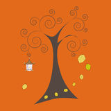 Autumn tree with falling leaves and old lamp, vector illustration Stock Photo