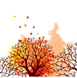 Autumn Tree With Falling Leaves on White Background. Elegant Design with Text Space and Ideal Balanced Colors. Royalty Free Stock Image