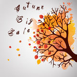 Autumn Tree With Falling Leaves on White Background. Elegant Design with Text Space and Ideal Balanced Colors. Stock Images