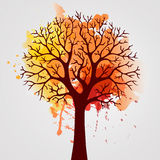 Autumn Tree With Falling Leaves on White Background. Elegant Design with Text Space and Ideal Balanced Colors. Royalty Free Stock Photos