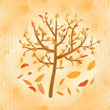 Autumn tree with falling yellow and red leaves on circle blurry ochre background. Computer generated design stock illustration