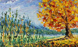 Autumn tree in a forest, fallen leaves, tall grass, clouds, golden autumn, painting royalty free illustration