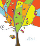 Autumn tree greeting card with leaves. And branches Stock Images