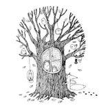 Autumn tree, hedgehog, fox and birds. stock illustration
