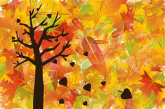 Autumn tree illustration. Tree and Colorful autumn leaves illustration Royalty Free Stock Photo