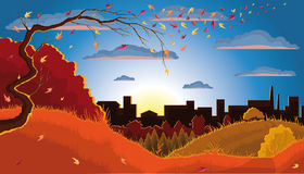 Autumn Tree. Illustration of an autumn tree, leaves, grass, bush, forest, and town at the sunset Stock Photos