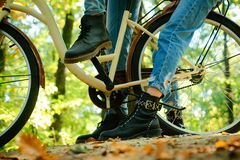 Autumn tree leaves and vinrage bike. Enjoying good autumn weather. Fall concept. Riding the bicycle in the park. Active. People. Outdoors royalty free stock image