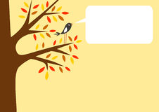 Autumn tree and little bird. With word bubble for your text, vector illustration Royalty Free Stock Image