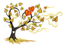 Autumn Tree. Autumn love tree with the red hearts and yellow leaves on the white background Royalty Free Stock Image