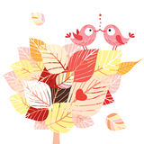 Autumn tree with loving birds royalty free illustration