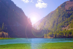 Autumn tree mountain and lake in jiuzhaigou Stock Photo