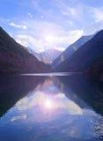 Autumn tree mountain and lake in jiuzhaigou Royalty Free Stock Photo