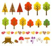 Autumn tree and mushroom set Stock Photos