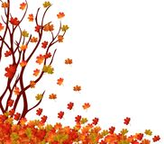Autumn tree and pile of leaves. Fall Leaves Background
