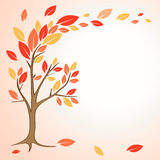 Autumn tree. With red leaves stock illustration