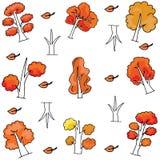 Autumn tree set of doodles Royalty Free Stock Photo