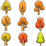 Autumn tree set on doodles Royalty Free Stock Images