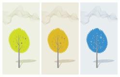 Autumn tree. Vector cartoon landscape. Lonely autumn tree. Vector cartoon landscape Stock Photo