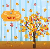 Autumn tree Vector. Fall sales background. flat styles. Autumn tree Vector. Fall sales background. flat style royalty free illustration