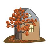 Autumn tree wraps around the house on a glade. Vector illustrati. On. Doodle Stock Photo