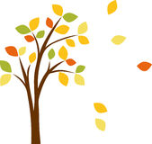 Autumn tree with yellow leaves. Autumn tree with leaves, vector illustration Stock Illustration
