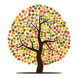 Autumn tree with yellow, orange. Brown and green leaves. Vector illustration Stock Image