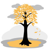 Autumn tree with yellowed leaves. Vector illustration of autumn tree with yellowed leaves Royalty Free Stock Photo