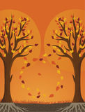 Autumn trees. Vector illustration with bright colors Royalty Free Stock Photos