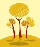 Autumn trees. Composition, abstract art Stock Photos