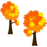 Autumn trees. Vector clipart of autumn trees with stylised leaves stock illustration