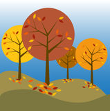 Autumn trees. Illustration of abstract autumn landscape with colorful trees and falling leaves Stock Images