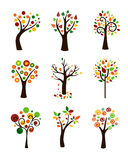 Autumn Trees. Nine Cute Trees In Autumn Colors Royalty Free Stock Images