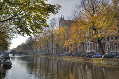 Autumn trees in Amsterdam, Holland Stock Images