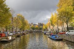 Autumn trees in Amsterdam, Holland Stock Image