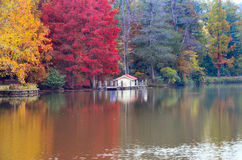 Autumn trees around lake. Fall trees reflected in lake. Royalty Free Stock Photos