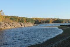 Autumn Trees Around o lago imagem de stock royalty free