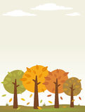 Autumn trees background. Autumn trees with falling leaves background vector illustration
