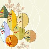 Autumn trees background. Abstract trees in autumn colors design stock illustration