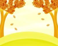 Autumn Trees Background Painting Fotografia Stock Libera da Diritti