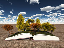 Autumn trees on book Stock Images