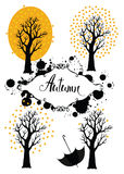 Autumn trees card. Autumn trees design card and calligraphy Stock Image