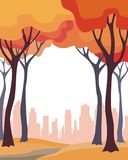 Autumn trees and city. Abstract image of the autumn trees and city. Beautiful landscape. Vector background for design presentations, brochures, web sites and Stock Images