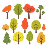 Autumn trees collection isolated on white background. Vector illustration stock illustration