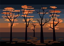 Autumn trees on a dark background. The figure depicts the autumn trees behind the sunset. The drawing is executed in avant-garde style with the use of simple Stock Photography