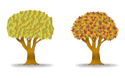 Autumn trees with detail leaves. Illustration stock illustration
