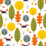 Autumn trees and fox seamless pattern on white background. Royalty Free Stock Images