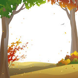 Autumn trees frame. Background with autumn trees and falling leaves Royalty Free Stock Photography