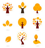 Autumn trees icons. Autumn trees collection. Vector illustration Royalty Free Stock Photo