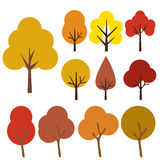 Autumn trees icons isolated on white. Collection Of Trees, Isolated On White Background, Vector Illustration Stock Photo