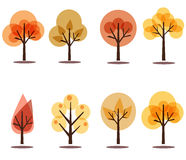 Autumn trees icons  on white. Set of colorful autumn tree collection Stock Images